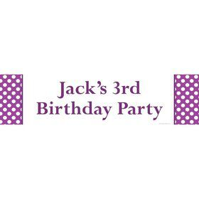Purple Dots Personalized Banner (Each)