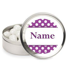 Purple Dots Personalized Candy Tins (12 Pack)