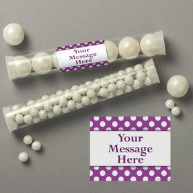 Purple Dots Personalized Candy Tubes (12 Count)