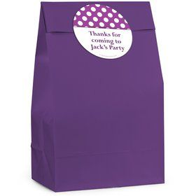 Purple Dots Personalized Favor Bag (12 Pack)