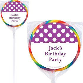 Purple Dots Personalized Lollipops (12 Pack)