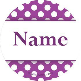 Purple Dots Personalized Mini Stickers (Sheet of 20)