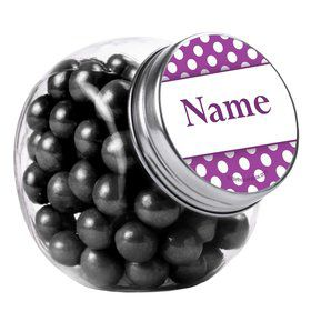 Purple Dots Personalized Plain Glass Jars (12 Count)