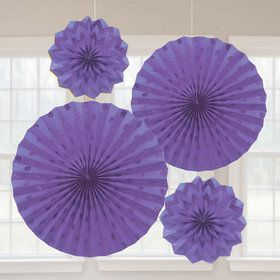 Purple Glitter Paper Fan Decorations (4 Pack)