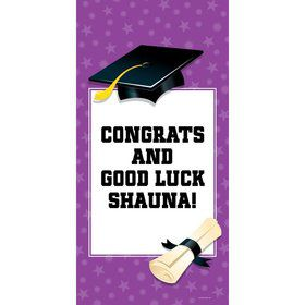 "Purple Graduation Personalized Giant Banner 30X6"" (Each)"