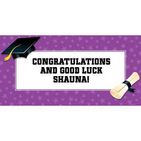 "Purple Graduation Personalized Giant Banner 60X3"" (Each)"