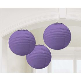 Purple Paper Lantern Decorations (3 Count)