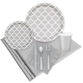 Quatrefoil Medium Gray Party Pack  sc 1 st  Birthday in a Box & Solid Colored Paper and Plastic Plates from Birthday in a box