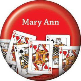 Queen's Card Party Personalized Button (each)