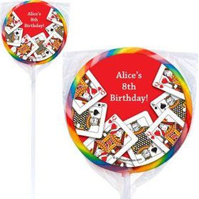 Queen's Card Party Personalized Lollipops (pack of 12)
