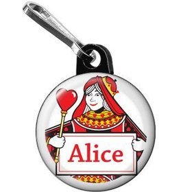 Queen's Card Party Personalized Mini Zipper Pull (each)