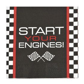 Race Car Checker Lunch Napkin (16)