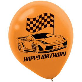 "Racecar 12"" Latex Balloons (6 Count)"