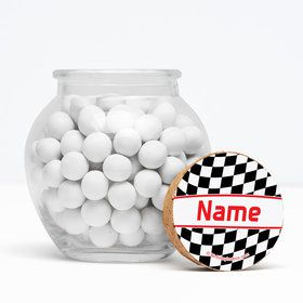 "Racing Flag Personalized 3"" Glass Sphere Jars (Set of 12)"
