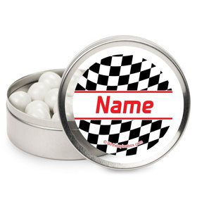 Racing Flag Personalized Candy Tins (12 Pack)