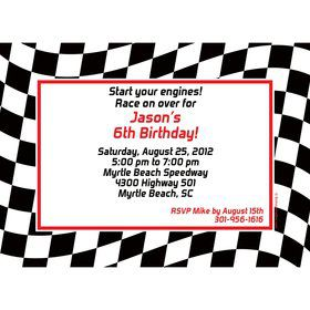 Racing Flag Personalized Invitation (each)