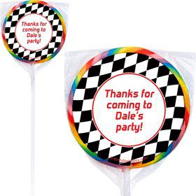 Racing Flag Personalized Lollipop (pack of 12)