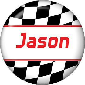 Racing Flag Personalized Mini Button (each)