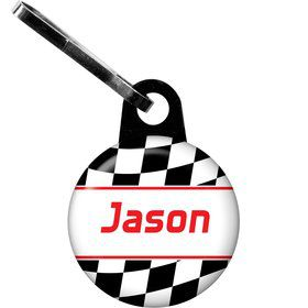 Racing Flag Personalized Zipper Pull (each)