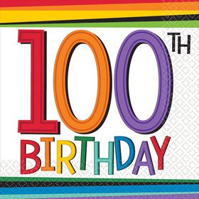 Rainbow 100th Birthday Beverage Napkins (16 Count)