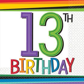 Rainbow 13th Birthday Beverage Napkins (16 Count)