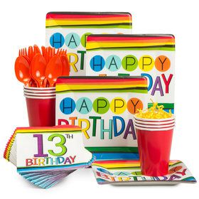 Rainbow 13th Birthday Standard Tableware Kit (Serves 8)
