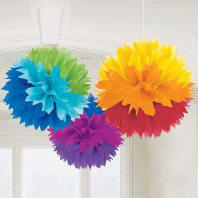 "Rainbow 16"" Fluffy Decorations (3)"