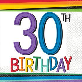 Rainbow 30th Birthday Beverage Napkins (16 Count)