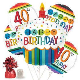 Rainbow 40th Birthday Balloon Bouquet Kit