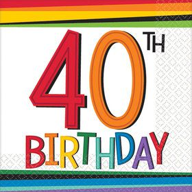 Rainbow 40th Birthday Beverage Napkins (16 Count)