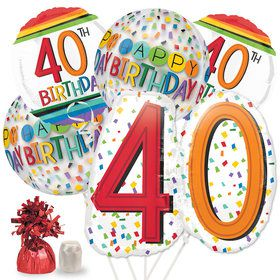 Rainbow 40th Birthday Deluxe Balloon Bouquet Kit