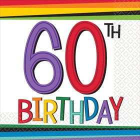 Rainbow 60th Birthday Beverage Napkins (16 Count)