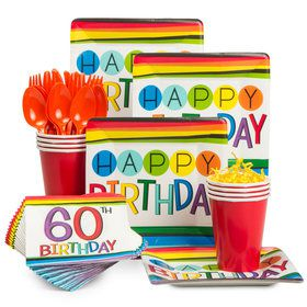 Rainbow 60th Birthday Standard Tableware Kit (Serves 8)