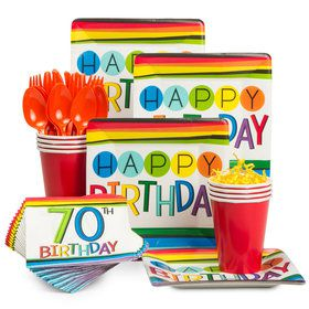 Rainbow 70th Birthday Standard Tableware Kit (Serves 8)