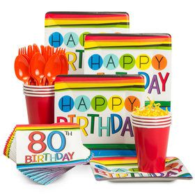Rainbow 80th Birthday Standard Tableware Kit (Serves 8)