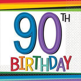 Rainbow 90th Birthday Beverage Napkins (16 Count)