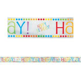 Rainbow Birthday 12' Foil Banner Decoration (Each)