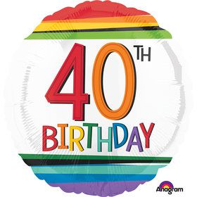 "Rainbow Birthday 40th Birthday 17"" Balloon (Each)"