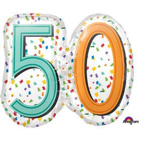 "Rainbow Birthday 50th Birthday 25"" Balloon (Each)"