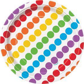 "Rainbow Birthday 7"" Cake Plates (8 Pack)"