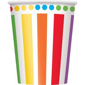 Rainbow Birthday 9oz Cups (8 Pack)