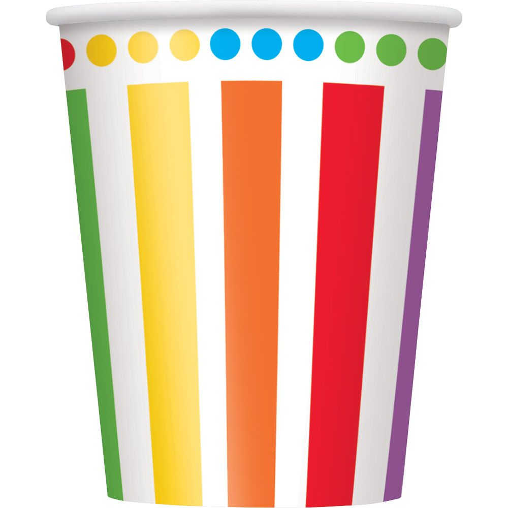 Rainbow Birthday 9oz Cups (8 Pack) - Party Supplies BB47116