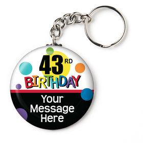 "Rainbow Birthday Add-Any-Age Personalized 2.25"" Key Chain (Each)"