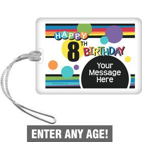 Rainbow Birthday Add-Any-Age Personalized Bag Tag (Each)