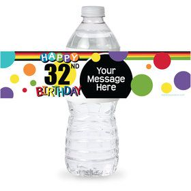 Rainbow Birthday Add-Any-Age Personalized Bottle Label (Sheet of 4)