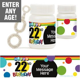 Rainbow Birthday Add-Any-Age Personalized Bubbles (18 Pack)