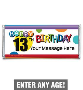 Rainbow Birthday Add-Any-Age Personalized Candy Bar Wrapper (Each)