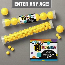 Rainbow Birthday Add-Any-Age Personalized Candy Tubes (12 Count)