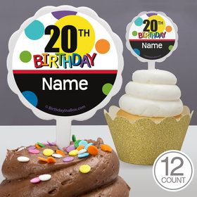 Rainbow Birthday Add-Any-Age Personalized Cupcake Picks (12 Count)
