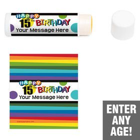 Rainbow Birthday Add-Any-Age Personalized Lip Balm (12 Pack)